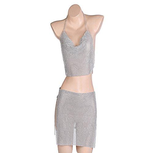 KAILLEET YY6 Un Conjunto (Top + Vestido), Diamond Sexy Chain Dress Summer Bikini Bra Accesorios Beach Party Joyería del Cuerpo con Caja de Regalo (Color : Silver)