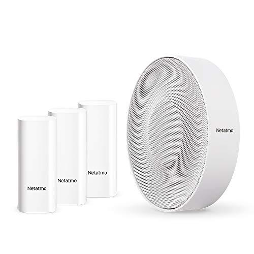 Netatmo Paquete de Accesorios de la Cámara Interior Inteligente: Sirena Interior Inteligente + Sensores de Apertura Inteligentes, inalámbricos, 110 dB, detección de Vibraciones