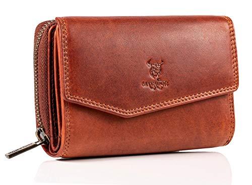 MATADOR Damen Leder Geldbörse Portemonnaie TüV geprüfter RFID & NFC Schutz Blocker Rindsleder Antik Vintage Braun