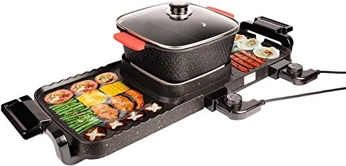 Electric Skillet for Smokeless - Hot Pot Grill Nonstick Indoor Barbecue, 2200W 3 in 1 Large Capacity 5 Speed Fire Adjustment - Pan for 2-12 People Gatherings - Indoor Ourdoor Large Capacity