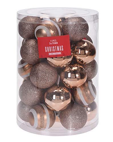 Spetebo Weihnachtskugeln 7 cm Kupfer - 33 Stück - Weihnachtsbaumkugeln Christbaumkugeln Christbaumschmuck