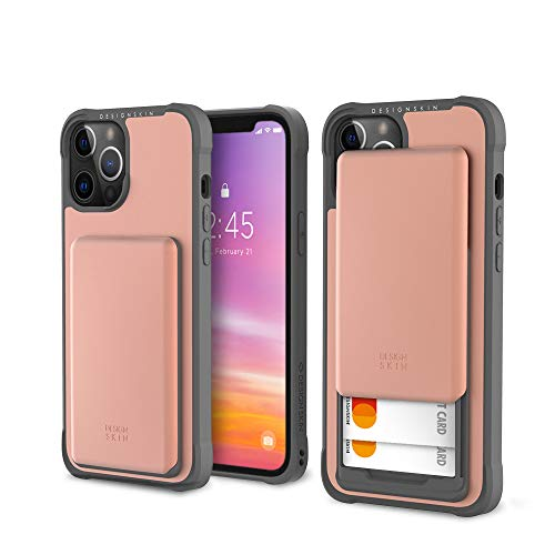 Design Skin Slider Designed for iPhone 12 Pro Max Case (2020), Card Storage Holder Heavy Duty Bumper Protection Cover Slim Wallet Cover Compatible with iPhone 12 Pro Max Case (6.7 Inch) - Rose Gold
