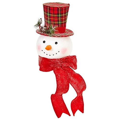 for ~14.75' Merry Christmas Plaid Snowman Top Hat~Tree Topper~Wreath/Tree MAMOLIK Supplier for Home & Garden