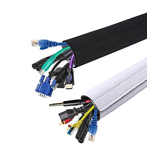 2 Pack Kabelmanagement,SS SHOVAN Neopren Klettverschluss DIY Einfach zu bedienen und benutzerdefiniert Organizer für PC, Heimkino, Lautsprecher Home Entertainment Center (150cm/59In x 13.5cm/5.3In)