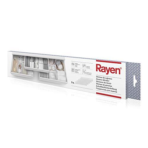 Rayen - Divisor de cajones adaptable. Separador de cajones con infinitas combinaciones. Organizador de cajones multifuncional. 5 unidades de 49.5 x 10 cm