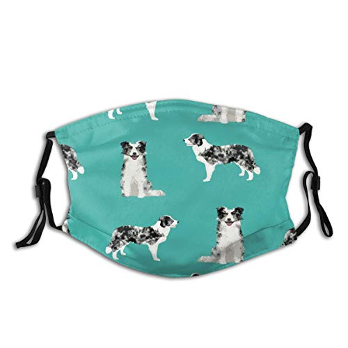 Border Collie Blue Merle Dog Face Mask Bandana Headwear