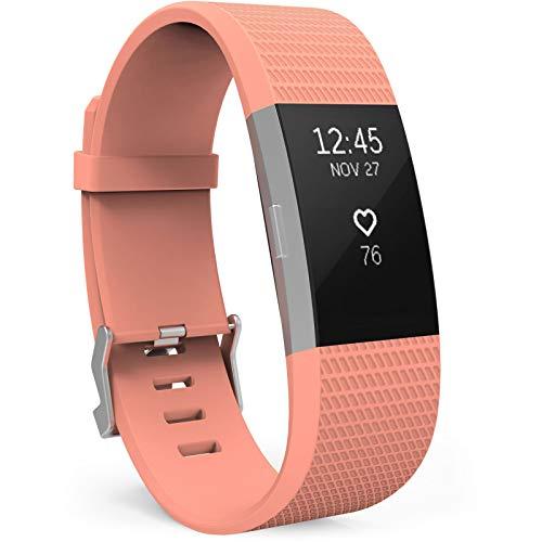 Yousave Accessories Compatibile per Fitbit Charge2 Cinturino, Sostituzione Braccialetto Sportivo in Silicone Compatibile per Il Fitbit Charge 2 - Grande - Peach Sunrise