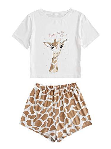 DIDK - Conjunto de pijama corto para mujer, diseño de...