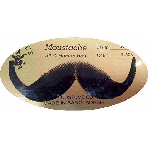 Rubie s Handlebar Human Hair Moustache  Black  One Size