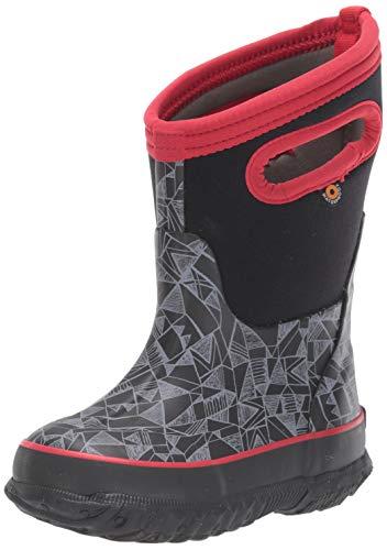 BOGS Kid's Classic High Waterproof Insulated Rubber Neoprene Snow Rain Boot, Maze Geo Print - Black, 13 M US Little Kid