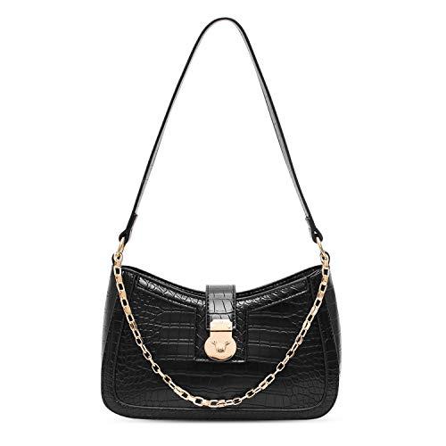 BAIGIO Faux Leather Shoulder Bag for Women Crocodile Pattern Clutch Bag with Metal Snap-Fastener Closure,Black