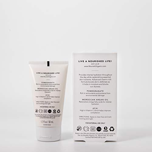 Nourish Organic | Ultra Hydrating Face Cream - Pomegranate & Argan | GMO-Free, Cruelty Free, 100% Vegan (1.7oz)
