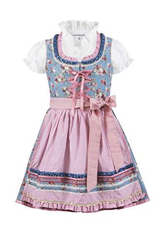 Stockerpoint Mädchen Kinderdirndl Emma Kleid für besondere Anlässe, Rauchblau-Rose, 134-140