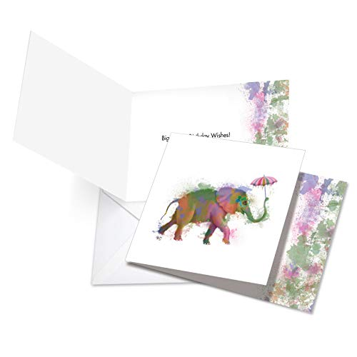 Funky Rainbow Wildlife Elephant - Watercolor Happy Birthday Card with Envelope (4.8 x 6.6 Inch) - Colorful Zoo Animal Bday Greeting Card for Kids, Adults - Cute Birthday Congratulations CQ4948JBDG