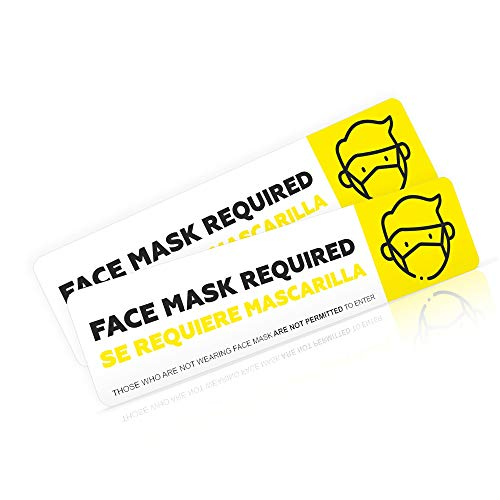 Face Mask Required Sign Decal Sticker for Rideshare Drivers | Safety Face Mask Notice Sign for Uber & Lyft Drivers | Wear Face Mask Car Window Decal | Commercial Grade Safety Decal for Taxi
