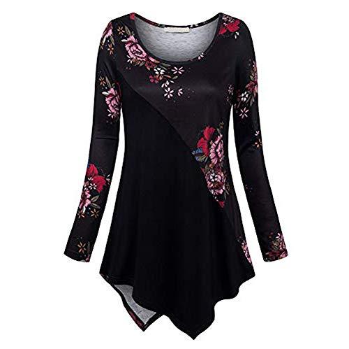 Tops de Camisa Mujer Blusas Tallas Grandes Camiseta Manga Larga Floral Impresión O-Cuello Sudadera con Botones