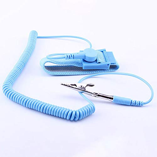 OPSLEA Alambre de Tierra de Trabajo de protección electrostática con Banda antiestática de Pulsera antiestática con Cable
