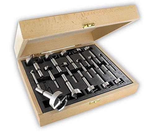 ENT 40316 16-tlg. Forstnerbohrer Premium-Set - Durchmesser (D) 10-12-15-18-20-22-24-25-26-28-30-35-38-40-45-50 mm - Schaft 6/8/10 mm