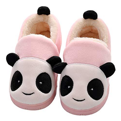 Pantofole Ragazze Inverno Ragazzi Warm Scarpe di Cotone Slipper Panda Antiscivolo Scarpe Bambine Invernali Caldo Casa Pattini per Donna Uomo, Panda Pink, 32/33 EU