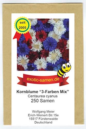 Centaurea cyanus - Bienenweide - Arzneipflenze - Kornblumen-Mix - 3 Farben - rot, blau, weiß - 250 Samen