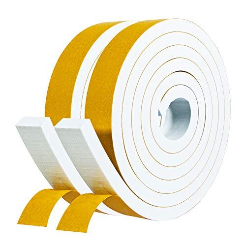 Schaumstoff Selbstklebend 25mm(B) x10mm(D) Dichtungsband Klebeband Weiß Fenster-Türdichtung kochheld, Moosgummi selbstklebend für Kollision Siegel Schalldämmung Gesamtlänge 4m (2 Rollen je 2m lang)