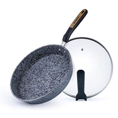 DIBAO Cazo seguro para el hogar, sartén con revestimiento de cerámica, sartén con revestimiento de granito, cacerolas antiadherentes, sartenes para carne, ollas de inducción, fácil de limpiar