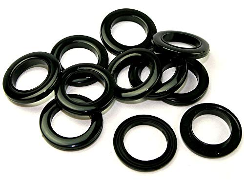 Marwotec Verbindungselemente 100 Stück Schwarze Stoffösen für Stoffloch Ø 40 mm, verwendbar für alle Stoffstärken, Kunststoff, Farbe schwarz