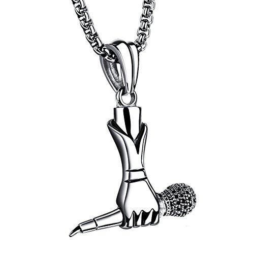 PAURO Hombre Acero Inoxidable Cantante Micrófono Colgante Collar De Músic...