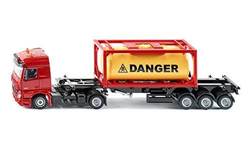 SIKU 3922, Mercedes-Benz LKW mit gerahmten Tankcontainer, 1:50, Metall/Kunststoff, Rot, Inkl. 1 Container, Abkoppelbarer Auflieger