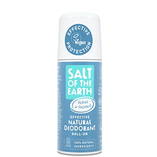 Natural Deodorant Roll On by Salt of the Earth, Ocean & Coconut - Vegan, Long Lasting Protection, Leaping Bunny Approved, Made in the UK - 75ml