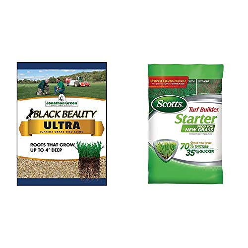 Jonathan Green 10323 Black Beauty Ultra Mixture, 25-Pound & Scotts Turf Builder Starter Food for New Grass, 15 lb. - Lawn Fertilizer for Newly Planted Grass - Covers 5,000 sq. ft.