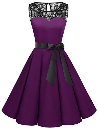 Bbonlinedress schwarzes Kleid Damen cocktailkleid Damen Rockabilly Kleider Damen Kleider Hochzeit Abendkleider lang Geschenk für Frauen Petticoat Kleid Grape M