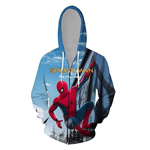 GNZY Mädchen Jungen Kapuzenpullover Spider Man 3D Gedruckt Rundhalsausschnitt Hoodies Party Cosplay Mäntel Sweatshirt Passt für Erwachsene Teenager Kinder,B,S