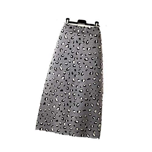 Skirts Nuevo Otoño 2020 Recto para las Mujeres Negro Moda Wrap Hip Slim Leopard Knit Invierno Largo Casual Retro Split Bottoms