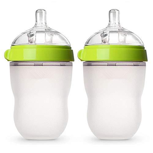 Biberón de Silicona Verde/Rosa 5 oz y 8 oz Biberones 2 Paquetes de biberones sin BPA para niños - 2Green 250ML