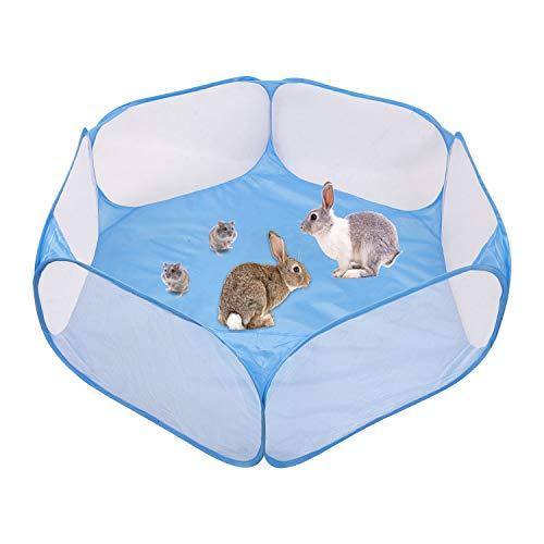 Jaula portátil para hámsters pequeños y pequeños, para interior y exterior, conejillos de indias, jaula, tienda de campaña, tienda deportiva (azul)
