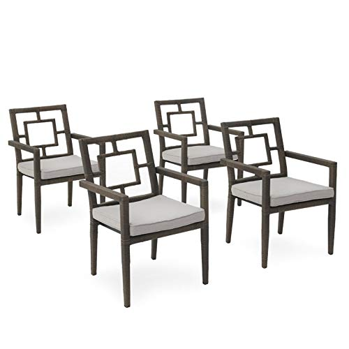 B Living Outdoor Wicker Stackable Dining Chairs with Seat Beige Cushions, Porch, Deck, Garden, Patio Furniture, Dark Brown, Set of 4