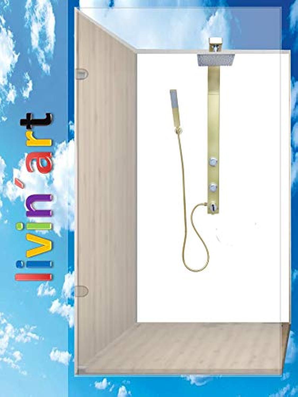 Original Livin'art Duschrückwand Rückwand Bad-Rückwand - WEISS Weiß, Bad-Verkleidung, Fliesenersatz ohne FUGEN (Alu-Verbund, 1 Platte mit 90x200cm)