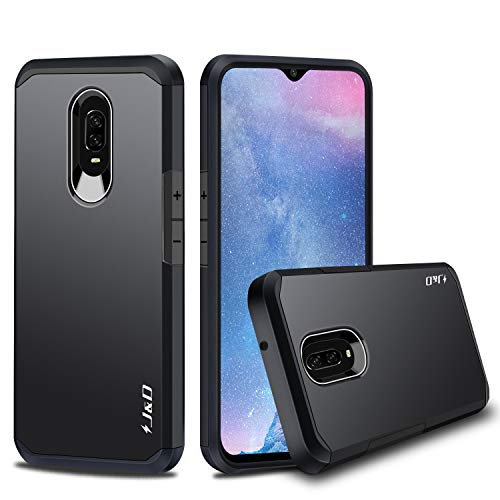 J&D Case Compatible for OnePlus 6T Case, Heavy Duty [Dual Layer] Hybrid Shock Proof Protective Rugged Bumper Case for OnePlus 6T Case - Black