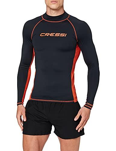 Cressi Rash Guard Man Long SL Camiseta Mangas Largas, en Tejido Elástico Especial, Protección Solar UV (UPF) 50+, Hombres, Negro/Naranja, XL