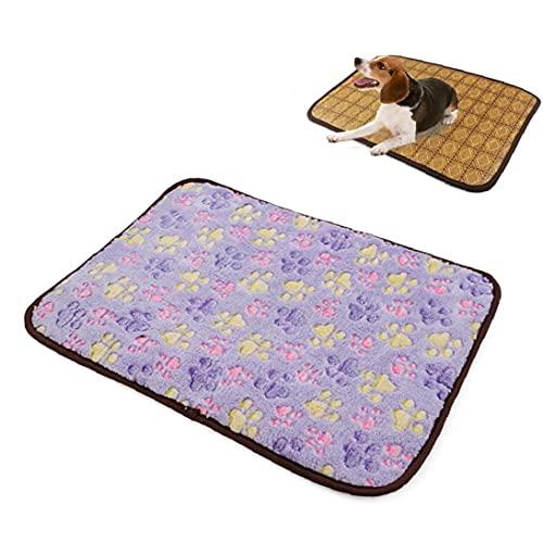 Four Season de doble cara para mascotas fresco del amortiguador de la estera de fibra de bambú respirable del animal doméstico de gato grande del Pequeño universal Verano cama para dormir (púrpura)
