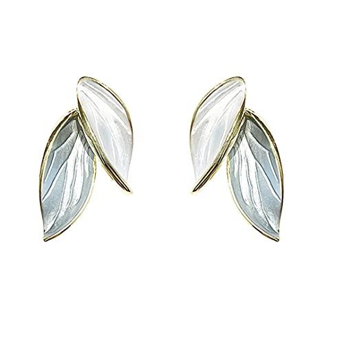 Lanchamp Pendientes para mujer plata 925 aguja anillo de oreja, aleación galvanizada, Ins pendientes simples y pequeños pendientes de hoja para niñas joyería bonita barata pero elegante