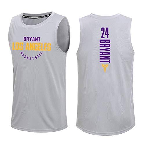 Disery Jersey para Hombres - Los Ángeles Lakers # 24 Kobe Bean Bryant Chaleco de Baloncesto Secado rápido sin Mangas Ball Traje de Entrenamiento Chaleco Deportivo (160~190 cm),XXL