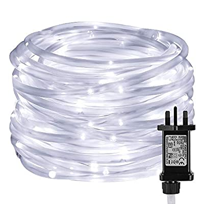 LE Christmas Rope Lights with Timer, 10m 100 LED, 8 Modes, Plug in String Lights, Daylight White, Mains Powered, IP65 Waterproof for Indoor & Outdoor Xmas Decorations, Tree Trunk and More