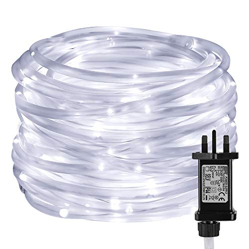 Lepro Rope Lights Mains Powered, Waterproof Outdoor String Lights Plug in, 10M 100 LED, Daylight White, Timer, Low Voltage, 8 Modes for Garden, Pool, Caravan, Camping Tent, Tree and More