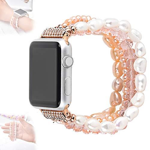 WJMT Correa de Reloj de Apple 38 mm 40 mm 42 mm 44 mm, Correas de Cristal de Perlas, Bandas de Repuesto para Apple iWatch 6/5/4/3/2/1, Mujeres Hombres,42/44mm