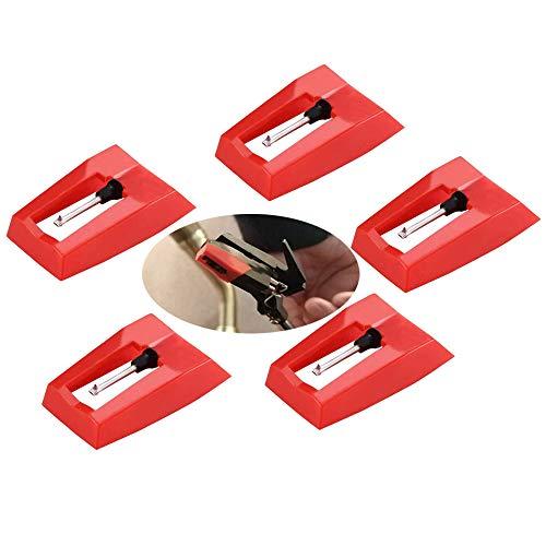 Anyasen 5 Piezas Agujas tocadiscos Agujas de Recambio para Tocadiscos Agujas con Punta de Diamante Aguja de Repuesto Universal con Punta de Diamante