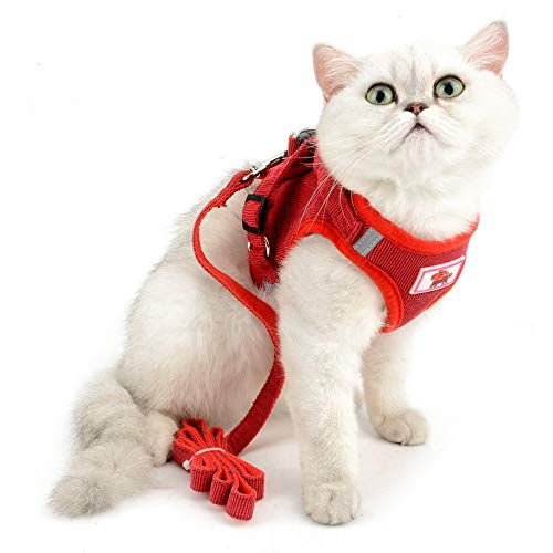 SELMAI Mesh Harness for Cats No Pull No Choke Escape Proof Padded Vest for Puppy Small Dogs Leash Lead for Kitten Walking Jacket Adjustable Training Collar Corduroy Soft Material Red XL