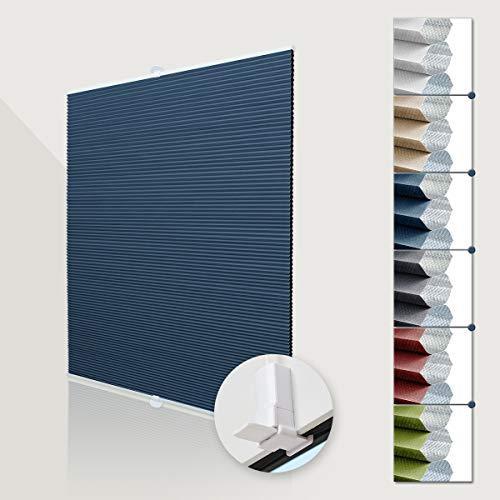 Deswell Verdunklungsplissee ohne Bohren waben plissee klemmfix für Fenster & Tür, Sonnen-, Sicht- & Schallschutz Weiß-Blau 40x130cm