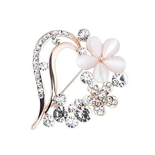 kliy Broches Y Alfileres para Amor Romántico Corazón Opal Flores Broches para...